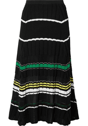 Proenza Schouler - Striped Stretch-knit Midi Skirt - Black