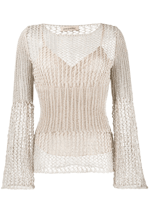 Gentry Portofino mesh knit sweater - Neutrals