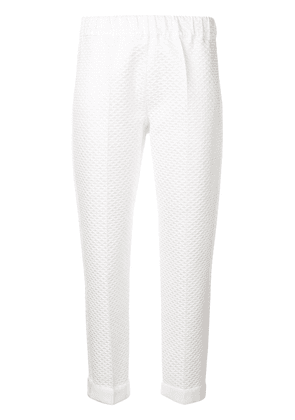 D.Exterior geometric pattern trousers - White