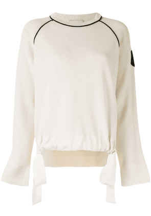 Moncler logo patch sweater - White