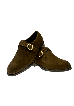 Brown Rodolfo Suede Single Buckle Monk Strap Shoes