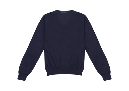 Navy Cashmere And Silk V-neck Sweater