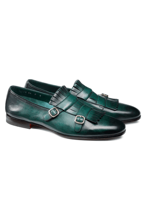 Green Double-Buckle Leather Shoes