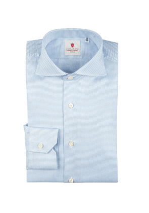 Azure Houndstooth Galles Cotton Shirt