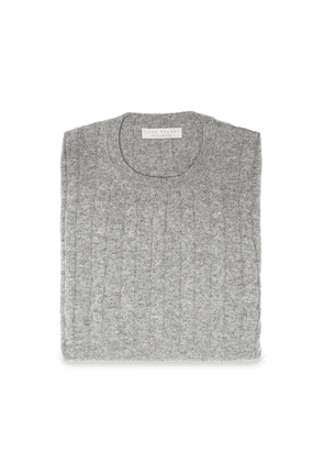 Dolomiti Grey Pure Cashmere Cable Knit Sweater