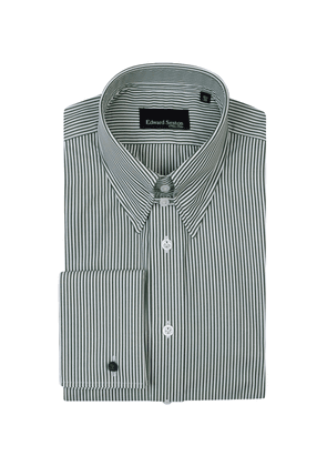 Green and White Cotton Bengal Stripe Tab-Collar Shirt With Double Cuffs