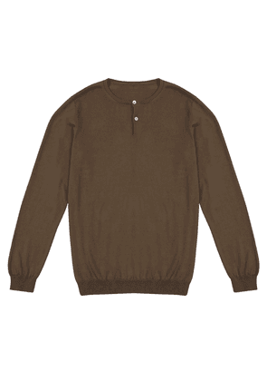 Taupe Knitted Cotton Henley Shirt