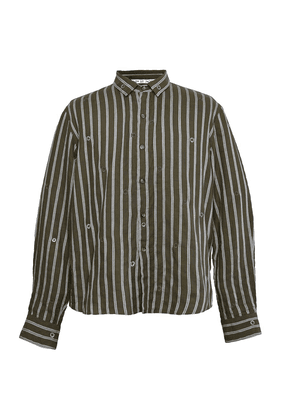 Green Cotton Striped Embroidered Shirt