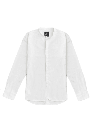 White Guiliano Jacquard Cotton Oxford Shirt