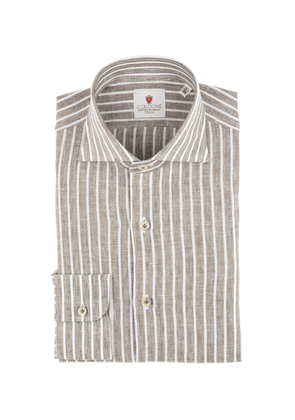 Brown and White Linen Stripe Shirt