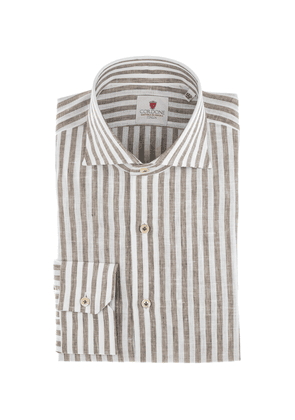 Brown and White Linen Wide Stripe Shirt