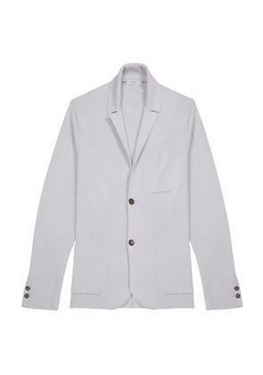 Grey Wool and Silk Single-Breasted Knitted Jacket