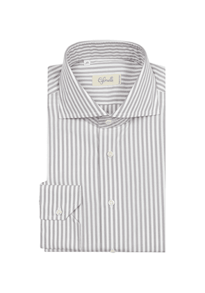 Grey Striped Cotton Spread Collar Shirt