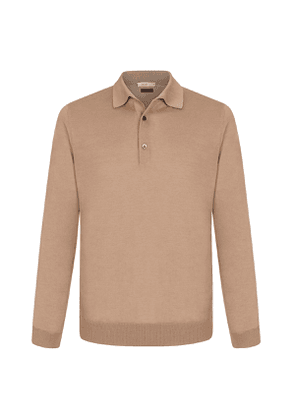 Beige Cashmere and Silk Polo Shirt