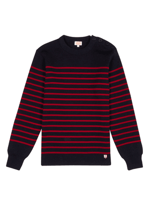 Navy and Red Stripe Wool Sweater
