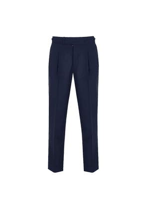 Navy Wool Front Pleat Trousers