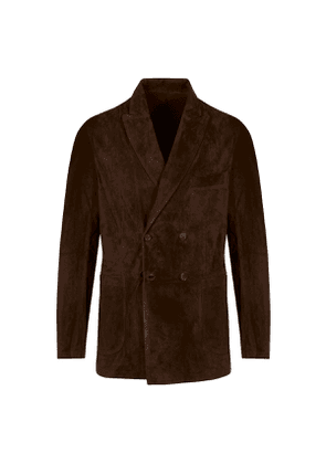 Tobacco Suede Double-Breasted Jacket