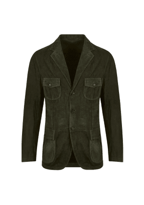 Olive Suede Single-Breasted Jacket