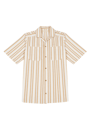White and Orange Striped Cotton Bowling Shirt