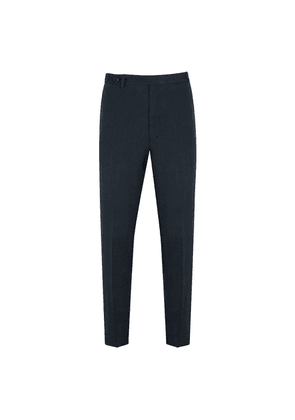 Navy Linen Flat-Fronted Trousers