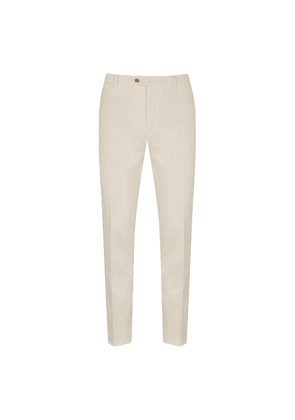 Cream Cotton Flat-Fronted Trousers