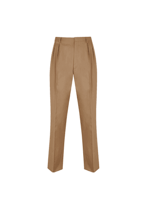 Beige Cotton High-Waisted Pleated-Front Trousers