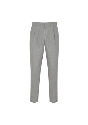 Grey Linen Pleated-Front Trousers