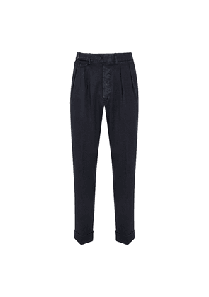 Navy Linen and Cotton Pleated-Front Trousers
