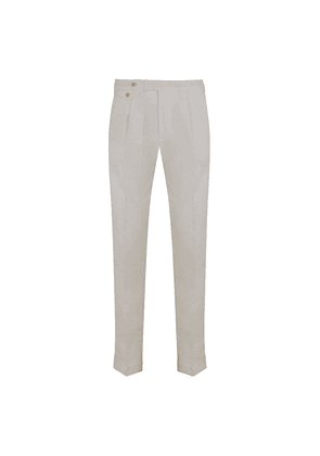 White Linen Front Pleat Trousers
