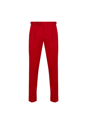 Red Cotton Double Pleat Trousers