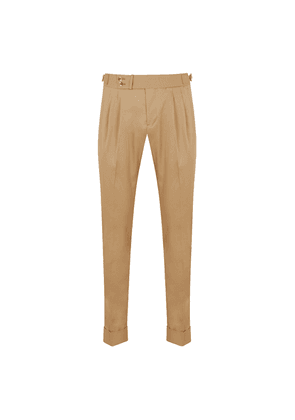 Light-Brown Cotton Double Pleat Trousers