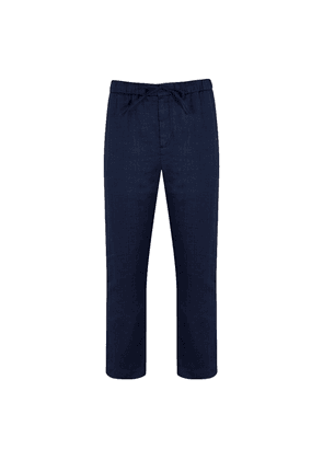 Navy Linen and Cotton Sport Chinos