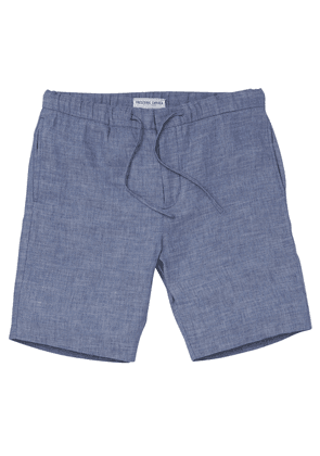 Navy Linen and Cotton Sport Shorts