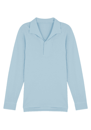 Light-Blue Cotton Long-Sleeved Polo Shirt