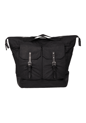 Black Waxed Cotton and Cowhide Frank Backpack
