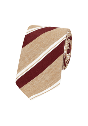 Beige and Red Silk and Linen Stripe Rio Tie