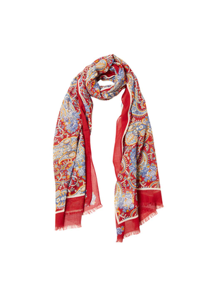 Red Paisley Print Silk and Wool Scarf