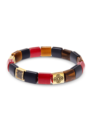 Matte Onyx, Tiger Eye, Red Jade and 18K Gold Flatbead Wristband