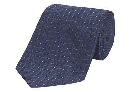 Cross Spot Navy And Lilac Silk Tie