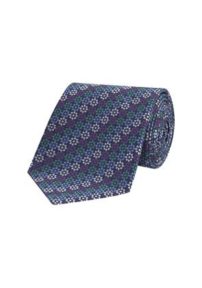 Blue and Green Dotted Floral Silk Tie