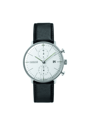 Black Leather and Silver Max Bill Chronoscope Watch
