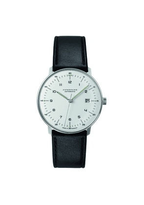 Black Leather and Silver Max Bill Automatic Watch