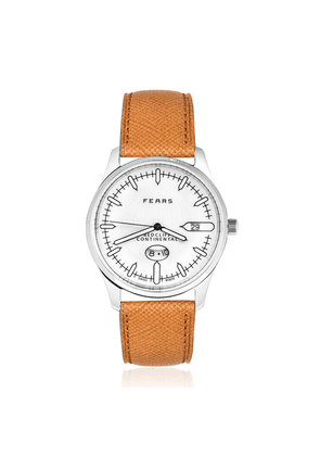 Jetliner White Redcliff Continental Watch with Tan Leather Strap