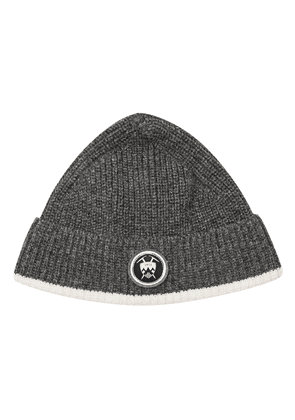 Grey Wool Beanie with Badge