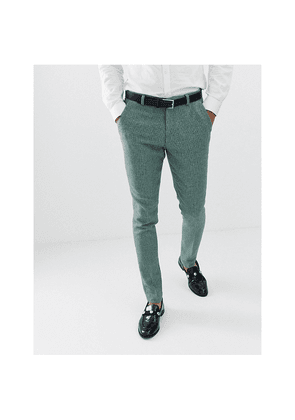 ce4ce9a98bc0 ASOS DESIGN wedding super skinny suit trousers in green wool blend mini  check