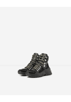 The Kooples - high-top, black leather platform trainers - bla