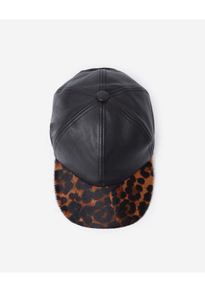 The Kooples - leather cap with pony-effect brim and leopard print - leopard