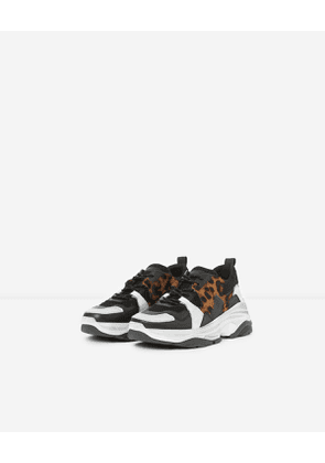 The Kooples - black and white leather trainers with leopard print - leopard