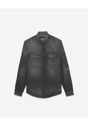 The Kooples - grey ripped denim shirt with paint and bandanna detailing - black