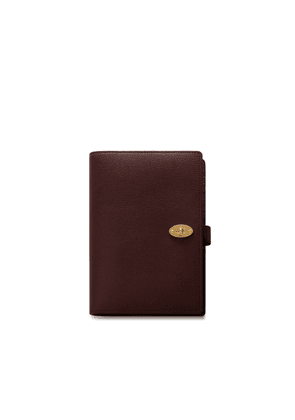 Mulberry Postman's Lock Notebook Cover in Oxblood Cross Grain Leather